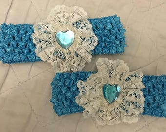 Two super cute lace flower headbands..baby/toddler sister/twins teal/white