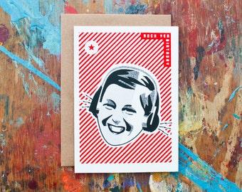 Rock Yer Birthday - Girl (BIR-17) Striped Retro Inspired Headphone Hipster Birthday Card Blank Inside Screenprint Red Black Music Lover