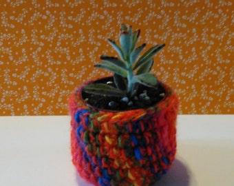 Crochet indoor planter , quirky , pot , crochet basket , hand made