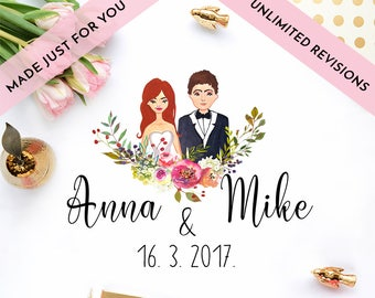 CUSTOM wedding portrait personalized wedding portrait wedding invitations save the date watercolor illustration