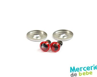 Set of 2 eyes for Teddy - 5 mm - Red