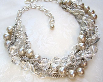 Chunky Wedding Necklace, Silver Crystal Pearl Bridal Necklace, Bridal Statement Necklace, Pearl Statement Necklace Crystal Wedding Statement