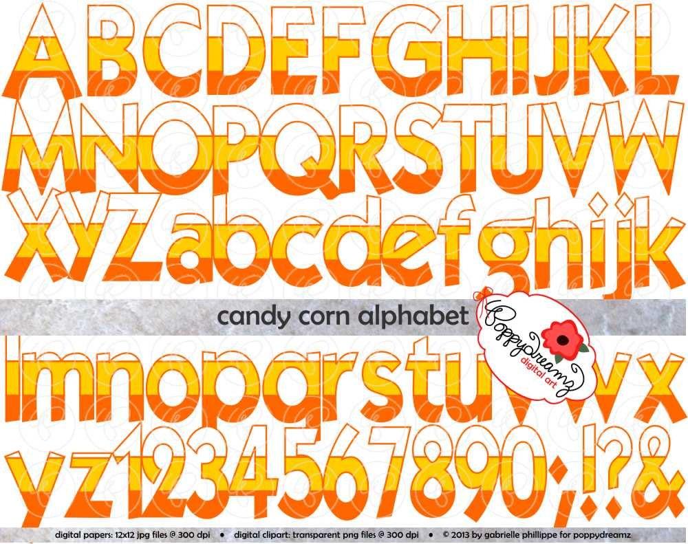 Candy Corn Alphabet: Clip Art Pack (300 dpi transparent png) Card ...