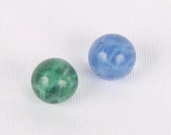 1960's Rare Ghost Spaghetti Swirl Marbles, 1 Blue, 1 Green, Excellent VTG Cond.