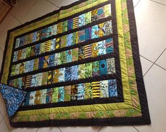African Wax Print and Batik Quilt 'Young Green Jungle'