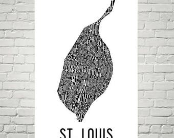 St. Louis Typography Neighborhood Map Art City Print, St. Louis Wall Art, St. Louis Art Poster, Gift, Map of St. Louis, Artwork, Print