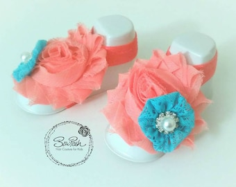CLEARANCE Coral shabby baby sandals, barefoot baby sandals, flower baby sandals, baby barefoot sandals, baby sandal props
