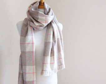 "Cashmere Scarf with Merino Silk in Beige, White and Pink Handwoven Check Pattern 20"" x 78"""