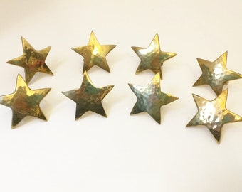 Vintage Hammered Brass Star Shaped Napkin Rings Set of Eight 80s, Table Accessories, Dining Decor