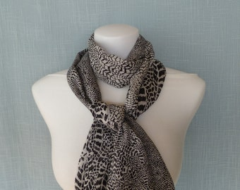 Black & White Animal Print Silk Scarf