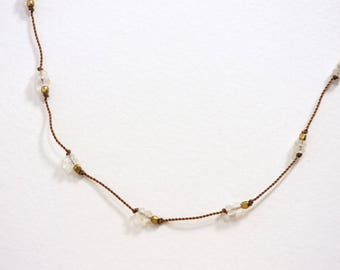 MOONSTONE Hand Knotted Gemstone Necklace / Dainty Jewelry / Layering Necklace