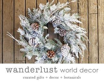 Wreaths, winter wreath, fir wreath, pinecone wreath, farmhouse wreath-everyday wreath-Christmas wreath-front door wreath-white wreath-wreath
