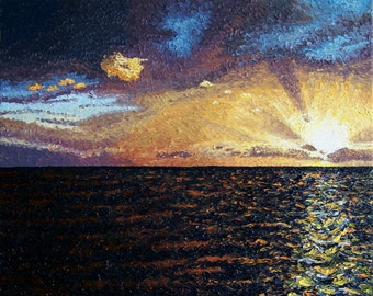 Ocean Sunset painting, Original Oil Painting, 16 x 20 in