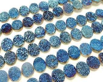 Druzy Cabochon - Blue Oval Shaped Druzy Cabochon 10mm x 8mm - Perfect for Jewelry Making (RK50B14b-06)