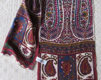 Liz Claiborne Paisley design silk foulard scarf 130 x 28 cm