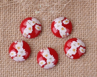 """set of 5 cabochons 20 mm resin """"Japanese painting"""""""