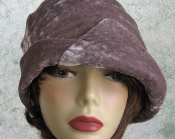 Womens Flapper Hat Split Brimmed Cloche In Smokey Taupe Velveteen With Side Gathers And Button Trim Chemo Hair Loss Hat Head Size 21-23 Inch