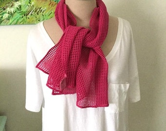 Vintage Esprit Scarf - Hot Pink Cotton Mesh. 1980s New Wave Long Scarf Retro Funky geometric Brights Gifts Under 20 Fun and Arty