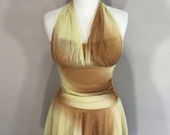 80s disco dress halter top dress yellow tan iridescent sheen sparkle party dress Rory USA