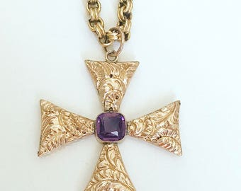 Victorian Gold and Amethyst Maltese Cross