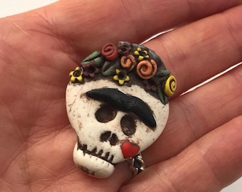 Tiny Frida Dia De los Muertos Brooch by Marie Segal from 2012