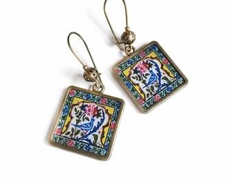 ZARRIN earrings - Persian tile design Earrings - Persian jewelry- Oriental - historic