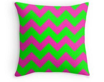 Pink Green Pillow, Pink Green Chevron, Pink Green Nursery, Pink Pillow, Pink Decorative Pillow, Pink Throw Pillow, Pink Green Bedding