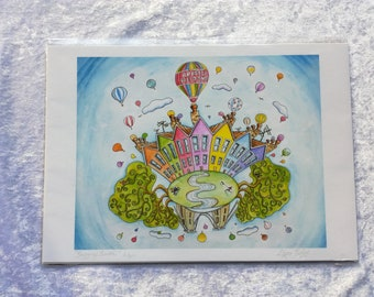 Bristol's Colourful Houses, Hot Air Balloons and Clifton Suspension Bridge Giclee Print