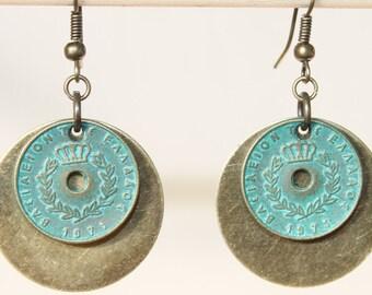 Bohemian Earrings Boho Earrings Verdigris Turquoise Earrings Brass Earrings Dangle Drop Earrings Boho Jewelry Gift  for her Gift for wife