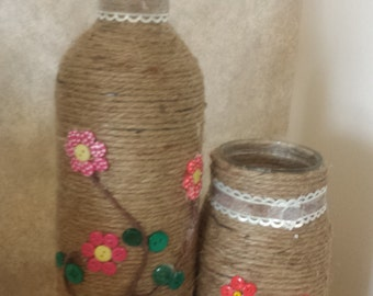 Floral upcycled bottles