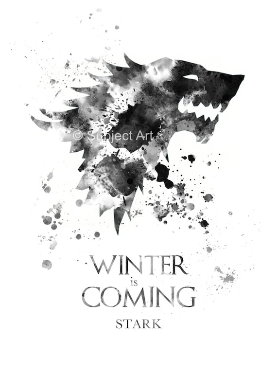 House Stark Game Of Thrones Art Print Illustration Winter Is