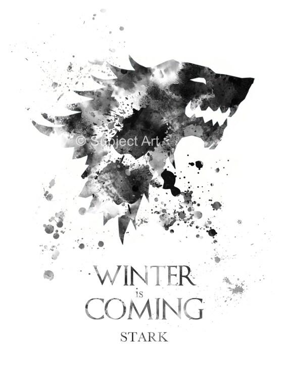 Wonderful House Stark Game Of Thrones ART PRINT Illustration Winter Is