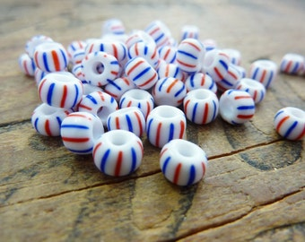 Vintage Czech Striped Trade Beads Size 5 or 6   (50) SB1067