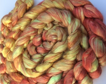 """Hand Painted A1 Mulberry Silk Combed Top 2oz """"Flax and Auburn"""""""
