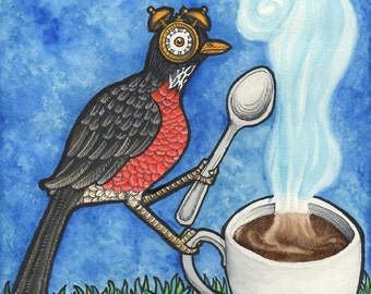 Early Bird With Cup of Coffee - Art Print - Watercolor Painting