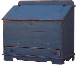Blanket Chest Primitive Painted Early American Colonial Reproduction  Farmhouse Distresse Furniture Storage Country Box Trunk