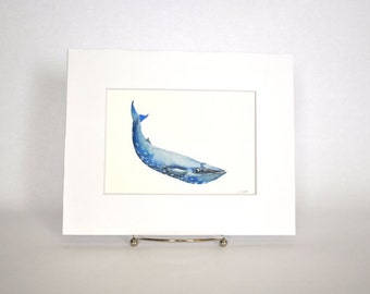Original Watercolor Blue Whale