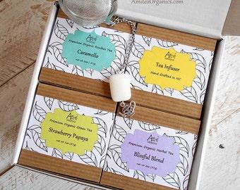 Tea Gift Box Set, Organic, Under 30 dollars, Tea Lover Gift, Gift for Him or Her, Tea Starter Kit, Healthy Gift, Housewarming, Birthday Gift