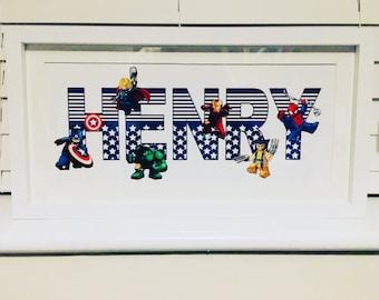 Framed Personalised Superhero print, large panoramic