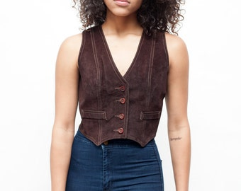 Vintage Brown Genuine Leather SUEDE HIPPIE Vest // Size Small