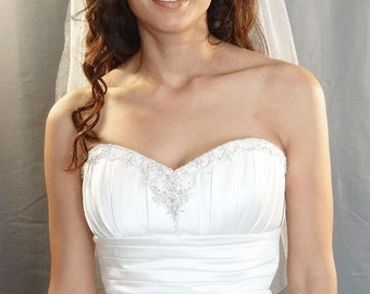 Diamond White Soft Wedding Veil, Fingertip Length Veil, Bridal Veil