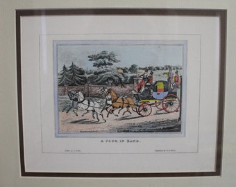 """Vintage Hand colored engraving """"A Four in Hand"""""""