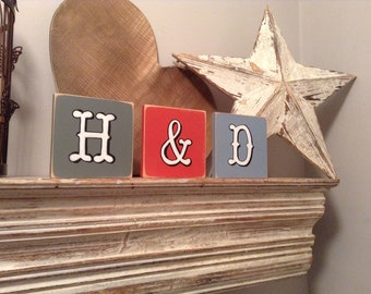 personalised letter blocks, initials, wooden letters, monograms, set of 3,  10cm square, hand painted