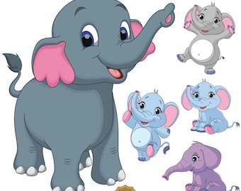 Elephant Clipart, Baby Shower Elephants, Elephant Clip Art, Elephant Images, Animal Clipart, Personal and Commercial Use, Instant Download