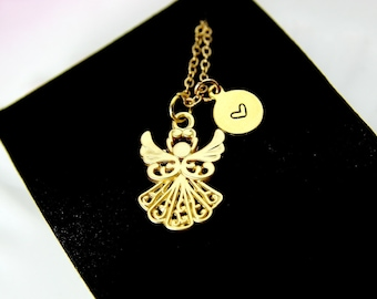 Guardian Angel Necklace, Guardian Angel Charm Necklace, Gold Guardian Angel Charm, Birthday Gift, Christmas Gift, Personalized Initial, N286