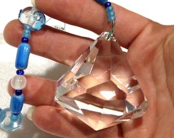 XL Diamond Crystal Sun Catcher Ornament 60 mm prism Rainbow of Glass beads Feng Shui  Gift