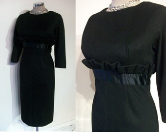 "Uber chic late 1950s wiggle dress w/ruffle bust 34""-35"" fab moderate H line silhouette"