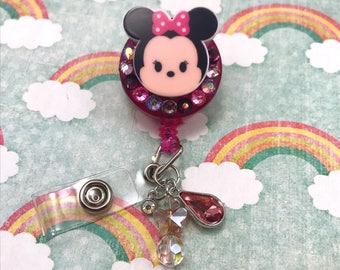 Minnie Mouse Bow Pink Crystal Bling Rhinestone Dandle Charm Badge Reel Retractable Disney Work ID Holder Nurse CNA RN Technician
