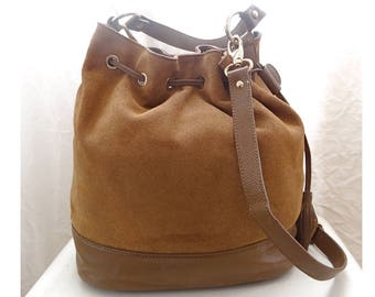 Bucket Bag leather and suede. Bucket bag leather & suede; Tote bag. Leather bag. Made in france.
