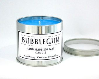 Bubblegum Candle, Bubblegum Scented Candle, Scented Candle, Tin Candle, Candle, Large Candle, Strong Candle, Fruity Scent, Bubblegum Scent